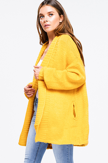$25 - Cute cheap asymmetrical boho sweater - Marigold yellow knit long sleeve draped collar open front pocketed boho sweater cardigan