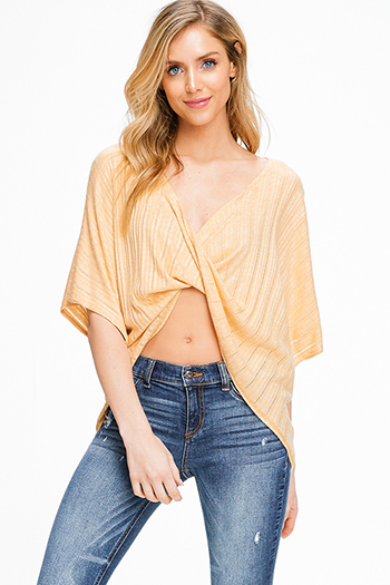 $15 - Cute cheap boho pants - Marigold yellow ribbed knit surplice twist front short dolman sleeve boho top