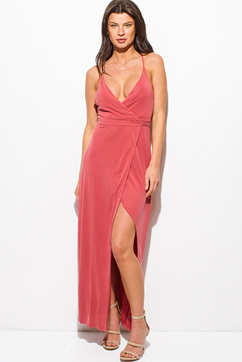 $20 - Cute cheap backless slit evening dress - maroon berry pink low v neck sleeveless criss cross backless high slit evening maxi wrap sun dress