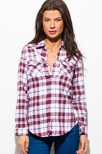 $15 - Cute cheap cold shoulder blouse - maroon burgundy red plaid flannel long sleeve button up blouse top