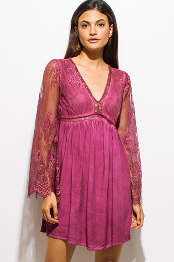 $15 - Cute cheap lace cut out sexy club dress - maroon fucshia pink sheer lace long bell sleeve acid wash boho cocktail party swing mini dress