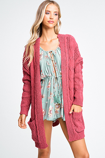 $30 - Cute cheap blue pocketed boho jumpsuit - Maroon mauve pink chenille chunky cable knit open front pocketed boho sweater cardigan