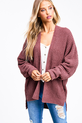 $25 - Cute cheap plum purple burgundy chenille fuzzy knit long sleeve draped neck open front pocketed boho sweater cardigan - Maroon pink chenille chunky knit long dolman sleeve open front boho cardigan