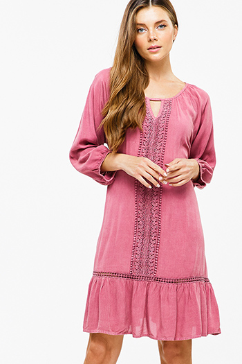 $20 - Cute cheap lace boho shift dress - Maroon pink crochet lace quarter sleeve tie back ruffle hem boho peasant mini dress