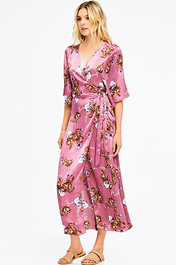 $15 - Cute cheap strapless ruffle dress - maroon pink floral print silk kimono sleeve boho maxi wrap dress