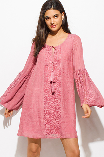 $20 - Cute cheap floral shift dress - maroon pink sheer lace contrast tassel tie long bell sleeve boho peasant shift mini dress