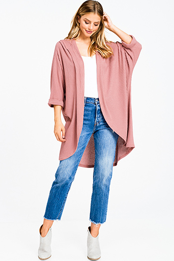 $15 - Cute cheap coral pink floral print ruffle laceup front long bell sleeve boho blouse top - Maroon pink thermal knit dolman sleeve hooded open front boho duster cardigan