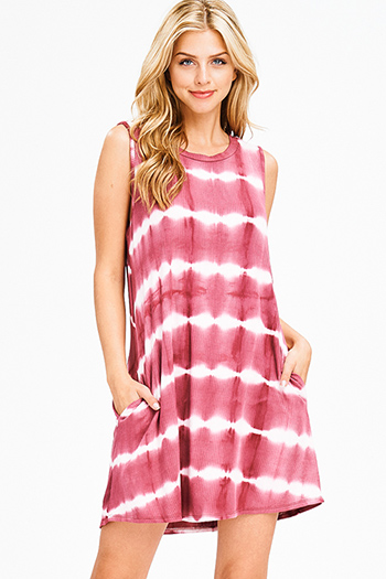 $15 - Cute cheap belted dress - maroon pink tie dye ribbed knit sleeveless pocketed swing mini sun dress