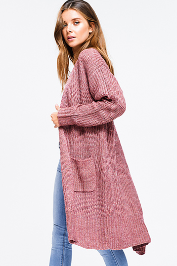 $25 - Cute cheap smokey pink mid rise distressed ripped frayed hem ankle fitted boyfriend jeans - Plus size maroon pink waffle knit long sleeve open front pocketed boho sweater duster cardigan