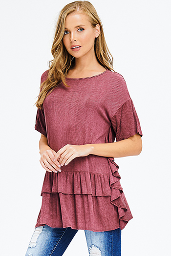 $15 - Cute cheap backless crochet dress - maroon pink washed ribbed knit ruffle trim short sleeve tunic top boho mini dress