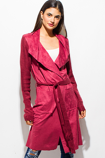 $15 - Cute cheap burgundy red multicolor ethnic print hooded pocketed button up duster cardigan jacket - maroon red faux suede sweater knit tie waist duster cardigan coat jacket