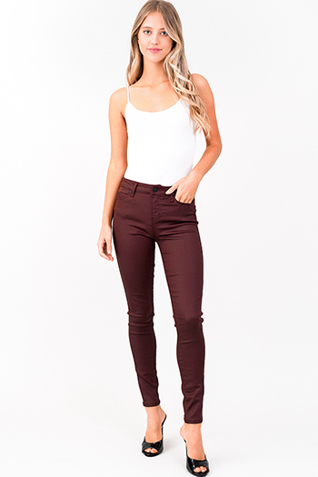 $20 - Cute cheap olive green denim mid rise distressed frayed double button skinny jeans - maroon red metallic denim mid rise coated skinny jeans