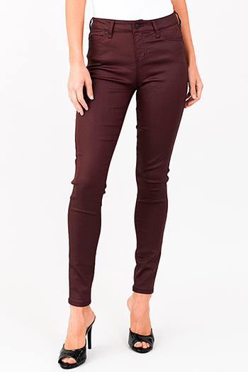 $14 - Cute cheap medium blue washed denim mid rise distressed ripped knee fitted skinny jeans - maroon red metallic denim mid rise coated skinny jeans