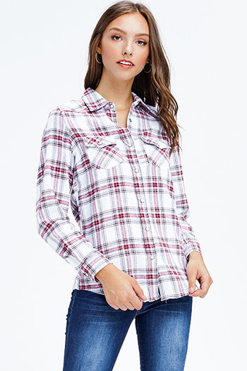 $12 - Cute cheap wine burgundy red plaid print long sleeve frayed hem button up blouse tunic top - maroon red multicolor plaid long sleeve snap button up flannel blouse top