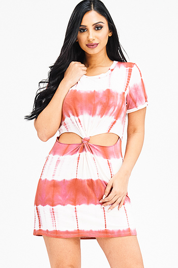 $20 - Cute cheap coral pink tie dye cuffed short sleeve asymmetrical hem tunic boho mini sun dress - maroon red tie dye short sleeve cut out knotted boho tee shirt tunic mini dress