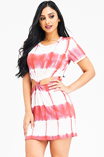$15 - Cute cheap neon orange abstract print quarter sleeve draped open back bodycon fitted sexy club mini dress - maroon red tie dye short sleeve cut out knotted boho tee shirt tunic mini dress