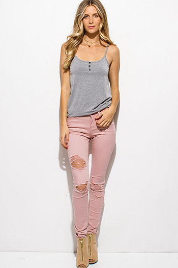 $20 - Cute cheap blue washed denim mid rise distressed frayed ripped skinny fit jeans - mauve blush pink denim mid rise distressed ripped knee skinny jeans