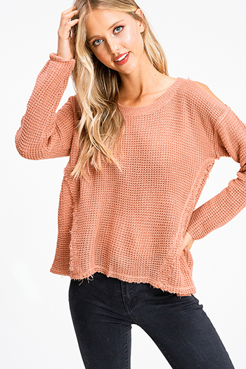 $20 - Cute cheap gray crew neck ruffle half petal sleeve ribbed knit trim boho sweater top - Mauve coral pink waffle knit open shoulder long sleeve boho sweater top