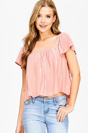 $15 - Cute cheap peach pink denim mid rise ripped knee skinny fit ankle jeans - mauve dusty pink embroidered cut out back short sleeve boho crop top