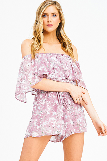 $20 - Cute cheap print boho jumpsuit - mauve dusty pink floral print chiffon ruffle tiered off shoulder boho romper playsuit jumpsuit