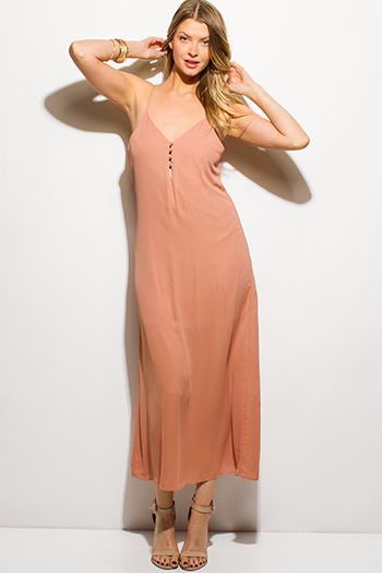 $15 - Cute cheap khaki beige stripe cotton gauze quarter sleeve button up boho maxi dress - mauve dusty rose spaghetti strap button up evening maxi sun dress