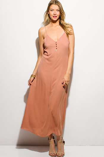 $15 - Cute cheap light mocha beige rayon jersey woven halter backless layered boho maxi sun dress - mauve dusty rose spaghetti strap button up evening maxi sun dress