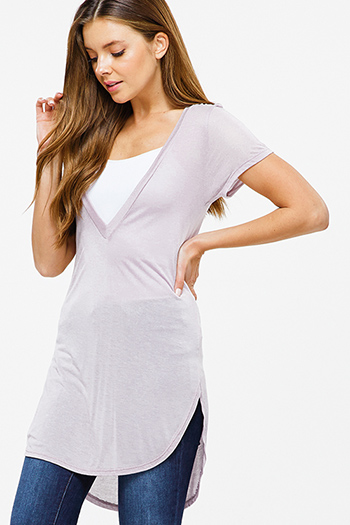 $15 - Cute cheap black pinstripe collarless short cuffed cap sleeve zip up blouse top - Mauve lavender purple semi sheer deep v neck short sleeve round hem tunic top
