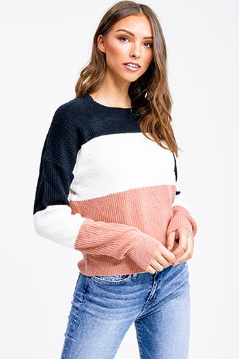 $25 - Cute cheap boho - Mauve pink and black color block long sleeve boho sweater top