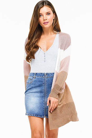 $25 - Cute cheap charcoal gray denim sweater knit long sleeve crop button up jean jacket top - Mauve pink brown knit color block long sleeve open front pocketed boho sweater cardigan
