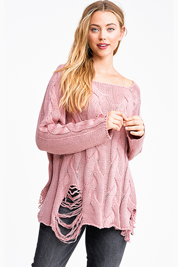 $30 - Cute cheap taupe beige long sleeve oversized hooded boho textured slub sweater top - Mauve pink cable knit long sleeve destroyed distressed fringe boho sweater top