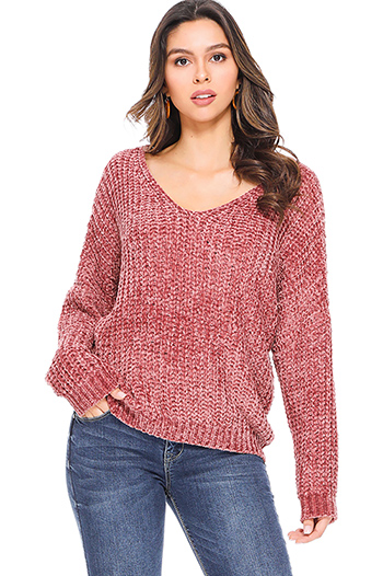 $25 - Cute cheap crochet long sleeve sweater - Mauve pink chenille knit off shoulder long sleeve boho sweater top