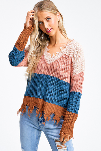 $30 - Cute cheap boho sweater - Mauve pink color block knit v neck long sleeve fringed chewed hem boho sweater top