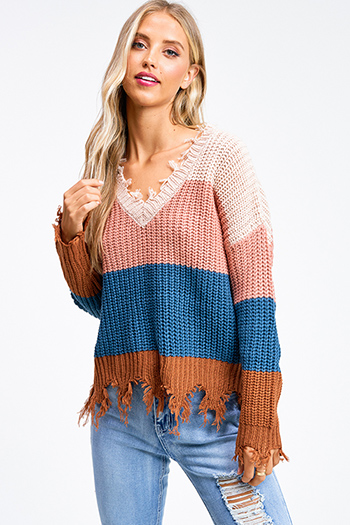$25 - Cute cheap color block boho top - Mauve and Teal color block knit v neck long sleeve fringed chewed hem boho sweater top