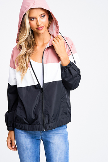 $20 - Cute cheap navy blue sheer floral print zip up boho bomber jacket - Mauve pink color block zip up mesh lined hooded pocketed windbreaker jacket