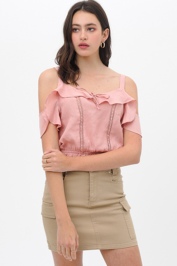 $19.5 - Cute cheap plaid boho blouse - Mauve pink crochet lace ruffle trim cold shoulder boho cropped blouse top