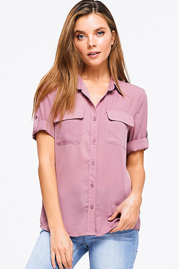 $10 - Cute cheap dusty pink floral print off shoulder trumpet bell sleeve boho blouse top - Mauve pink double georgette short sleeve front pocket button up blouse shirt top