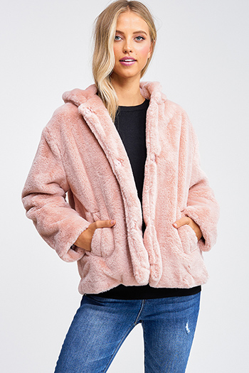 $40 - Cute cheap white asymmetrical hem quarter sleeve zip up fitted blazer jacket top - Mauve pink faux fur long sleeve button up pocketed hooded coat jacket