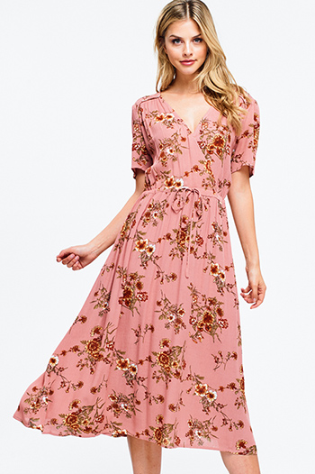 $30 - Cute cheap boho quarter sleeve jumpsuit - Mauve pink floral print short sleeve surplice v neck waist tie boho maxi sun dress