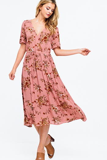 $30 - Cute cheap smokey pink mid rise distressed ripped frayed hem ankle fitted boyfriend jeans - Mauve pink floral print short sleeve surplice v neck waist tie boho maxi sun dress