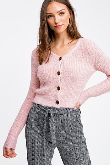 $25 - Cute cheap taupe beige long sleeve oversized hooded boho textured slub sweater top - Mauve pink fuzzy knit long sleeve cropped button up boho sweater top