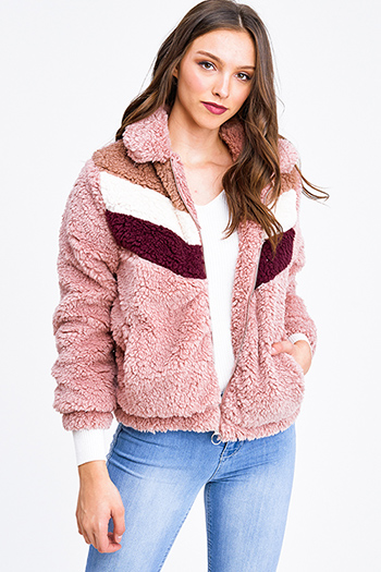 $25 - Cute cheap Mauve pink fuzzy sherpa fleece color block zip up pocketed jacket top
