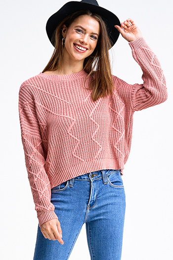 $20 - Cute cheap blush pink buffalo check long dolman sleeve tie front boho button up blouse top - Mauve pink jacquard knit crew neck long sleeve cropped boho sweater top