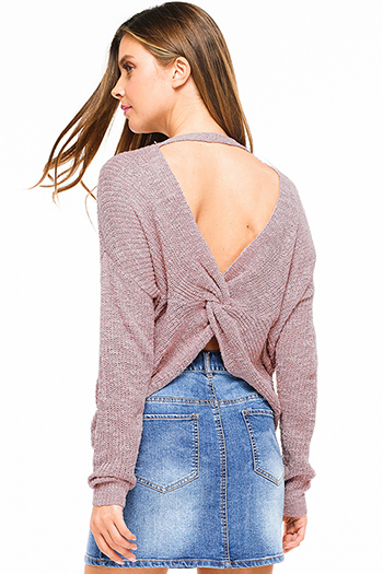 $20 - Cute cheap smokey pink mid rise distressed ripped frayed hem ankle fitted boyfriend jeans - Mauve pink knit long sleeve v neck twist knotted cut out back boho sweater top