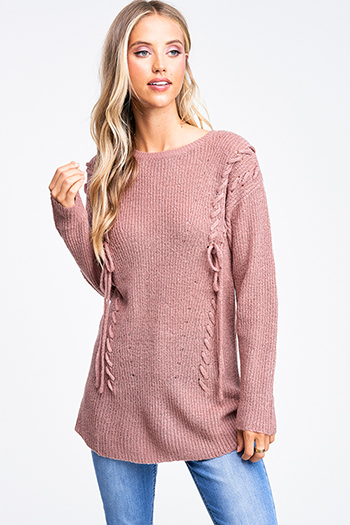 $20 - Cute cheap print chiffon boho top - Mauve pink laceup front long sleeve boho sweater knit top