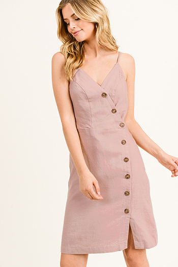 $18 - Cute cheap print slit evening dress - Mauve pink linen sleeveless v neck button down smocked a line boho midi sun dress