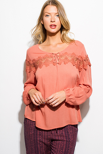$20 - Cute cheap khaki blouse - mauve pink long blouson sleeve crochet lace trim boho blouse top