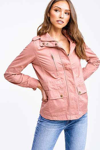 $22 - Cute cheap dark blue washed denim button up pocketed frayed hem crop jean jacket - Mauve pink long sleeve button zip up moto anorak jacket top