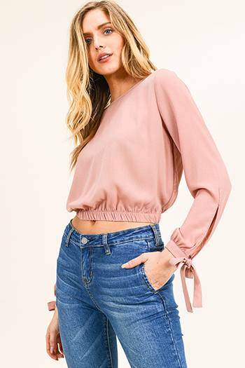 $13 - Cute cheap print chiffon boho top - Mauve pink long tie sleeve banded waist keyhole back boho cropped blouse top