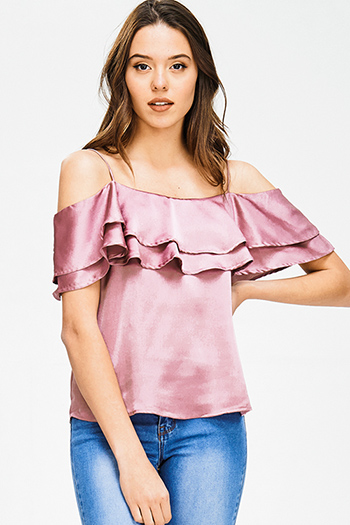 $10 - Cute cheap peach pink denim mid rise ripped knee skinny fit ankle jeans - mauve pink metallic satin ruffle tiered cold shoulder sexy party tank top
