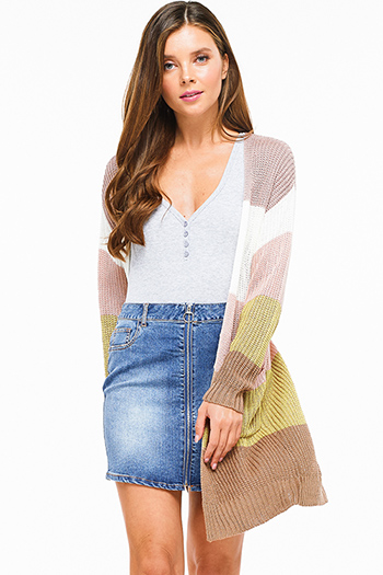 $25 - Cute cheap taupe beige faux suede fringe trim open front boho vest top - Mauve pink multicolor knit color block long sleeve open front pocketed boho sweater cardigan